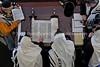 ZA 1555  Chabad-Lubavitch Rabbi Mordechai Rodal (bottom L) leads shacharit (morning) services, Chabad of Norwood  Johannesburg, South Africa